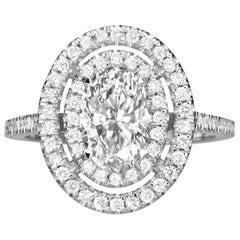 2.52 Karat Ovalschliff Diamant Verlobungsring auf 14 Karat Weißgold