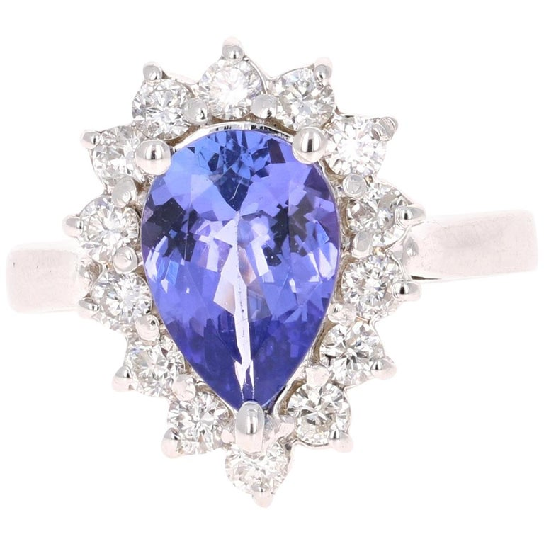 1fcf7ba813ab1 2.52 Carat Pear Cut Tanzanite Diamond 14 Karat White Gold Ring