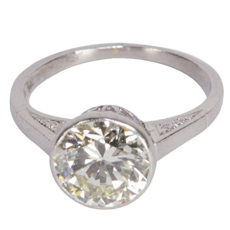 2.52 Carat Solitaire Diamond Art Deco Platinum Ring