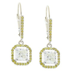 2.52 Carat Total Radiant White and Natural Vivid Yellow Diamond Drop Earrings