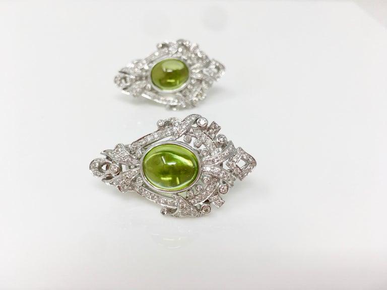 2.52 Carat White Round Brilliant Diamond And 17.34 Carat Peridot Pendant Set.  For Sale 1
