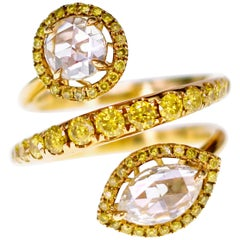 2.52 Carat Yellow Rose Cut Diamond in Serpent Design