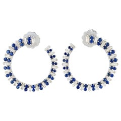 2.52 Carat Sapphire Diamond 18 Karat White Gold Spiral Hoop Earrings