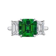 2.52 Natural Columbian Square Cut Emerald Diamond Platinum Ring