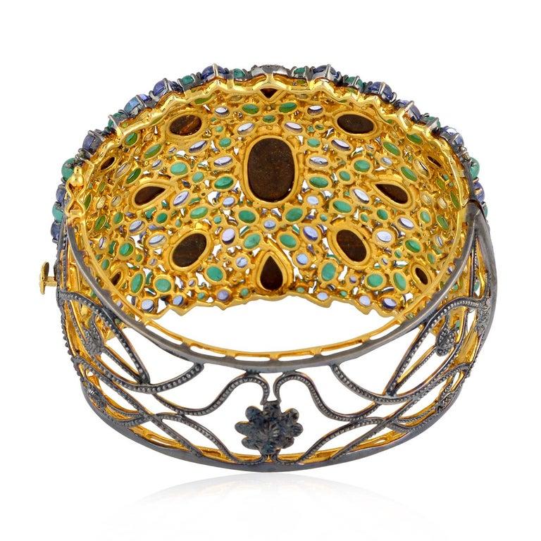 Artisan 25.21 Carat Emerald Opal Diamond Bracelet Cuff For Sale