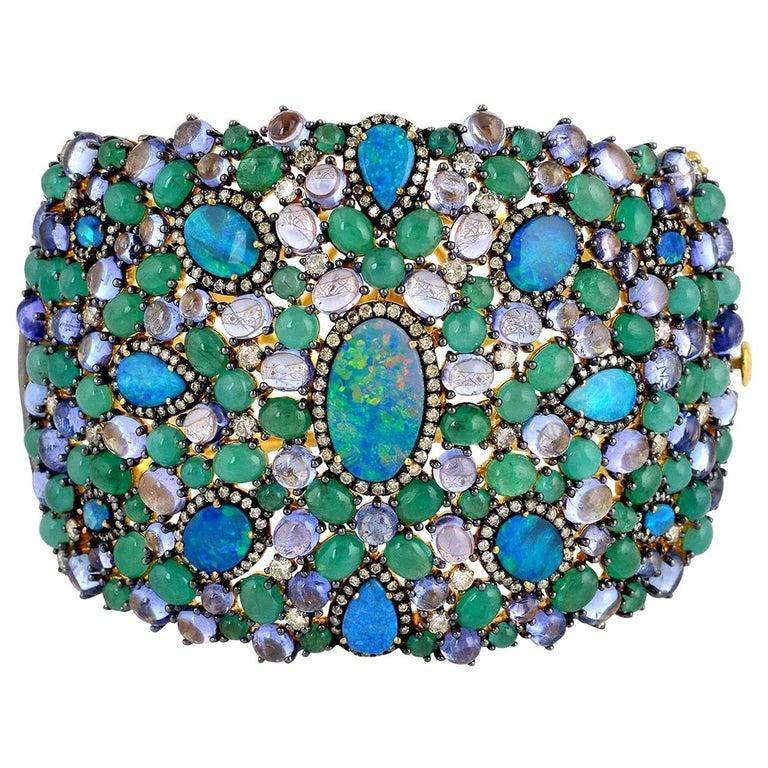 25.21 Carat Emerald Opal Diamond Bracelet Cuff For Sale
