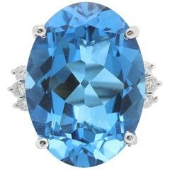 25.25 Ct Impressive Natural Swiss Blue Topaz & Diamond 14K Solid White Gold Ring