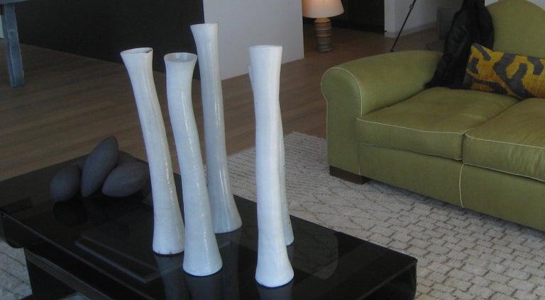 Undulating Handbuilt Ceramic Vase, in White Split-Glaze, 25.25 Inches Tall For Sale 12