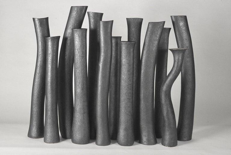 Undulating Handbuilt Ceramic Vase, in White Split-Glaze, 25.25 Inches Tall For Sale 13