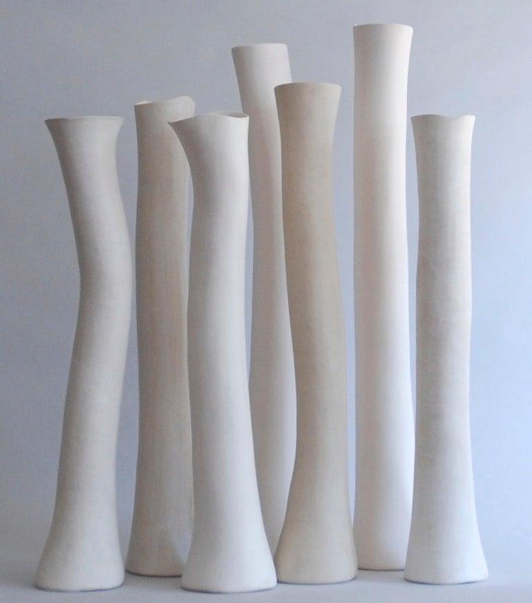 Undulating Handbuilt Ceramic Vase, in White Split-Glaze, 25.25 Inches Tall For Sale 14