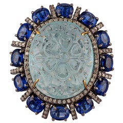 25.27 Carat Aquamarine, Kyanite and Diamond Ring in Victorian Style