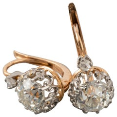 2.53 Carat Antique French Diamonds Earrings