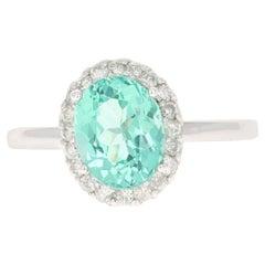 2.53 Carat Apatite Diamond Ring 14 Karat White Gold Ring