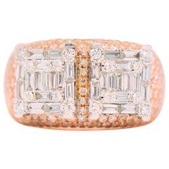 2.53 Carat Baguette Diamonds Ring in 18 Karat Two-Tone Gold
