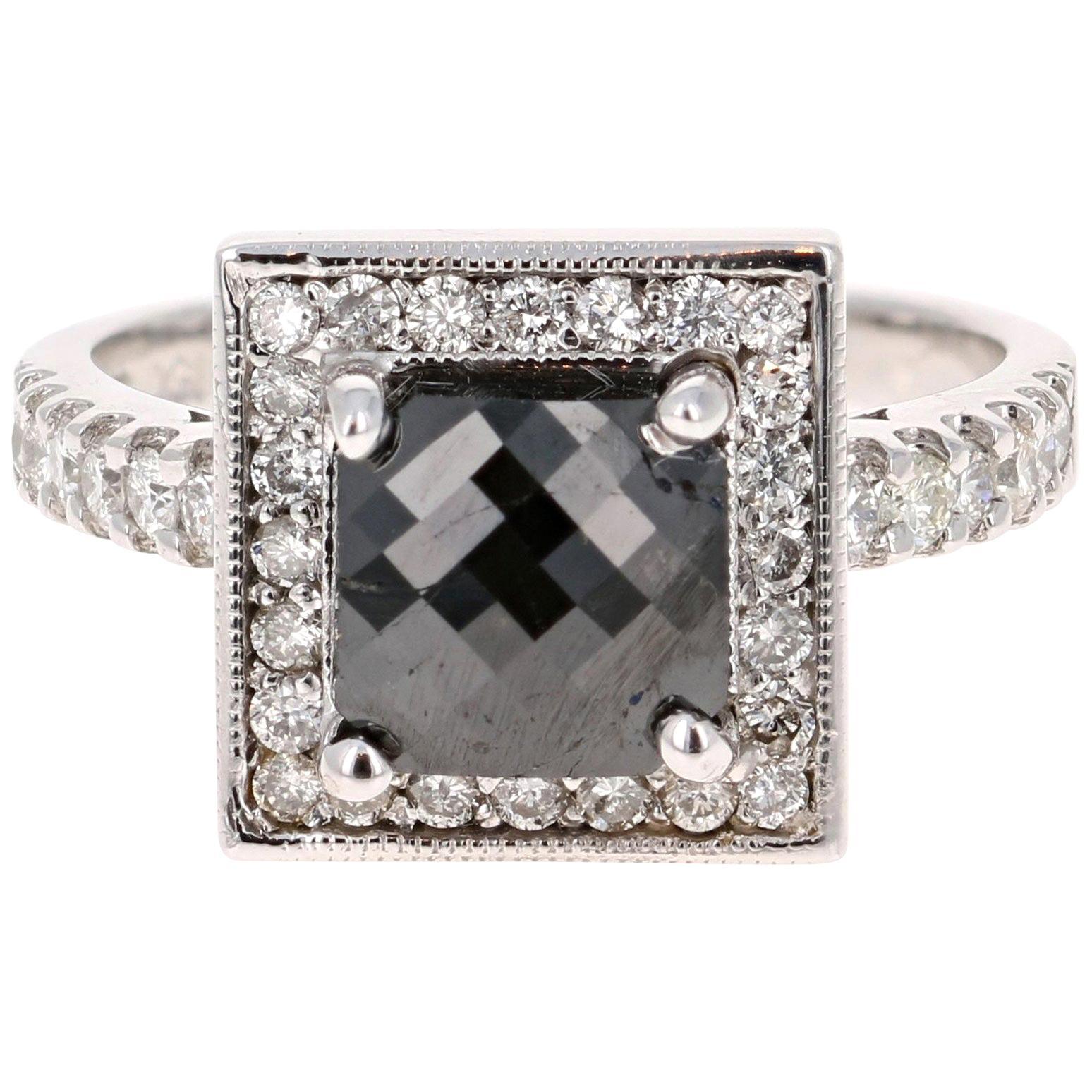 2.53 Carat Cushion Cut Black Diamond White Gold Bridal Ring 14 Karat White Gold