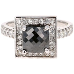 2.53 Carat Cushion Cut Black Diamond White Gold Bridal Ring 14 Karat White Gold