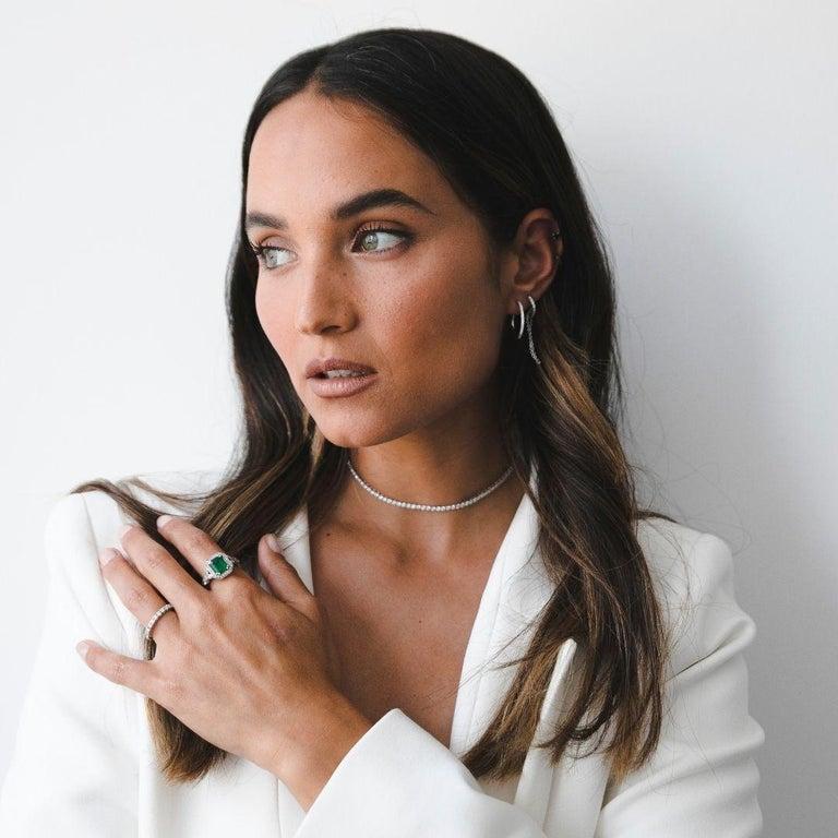 Women's 2.53 Carat Emerald & Diamond Ring in 14 Karat White Gold, Shlomit Rogel For Sale