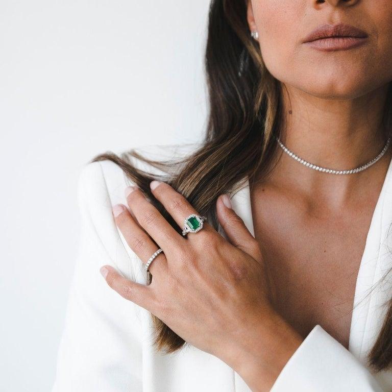 2.53 Carat Emerald & Diamond Ring in 14 Karat White Gold, Shlomit Rogel For Sale 1