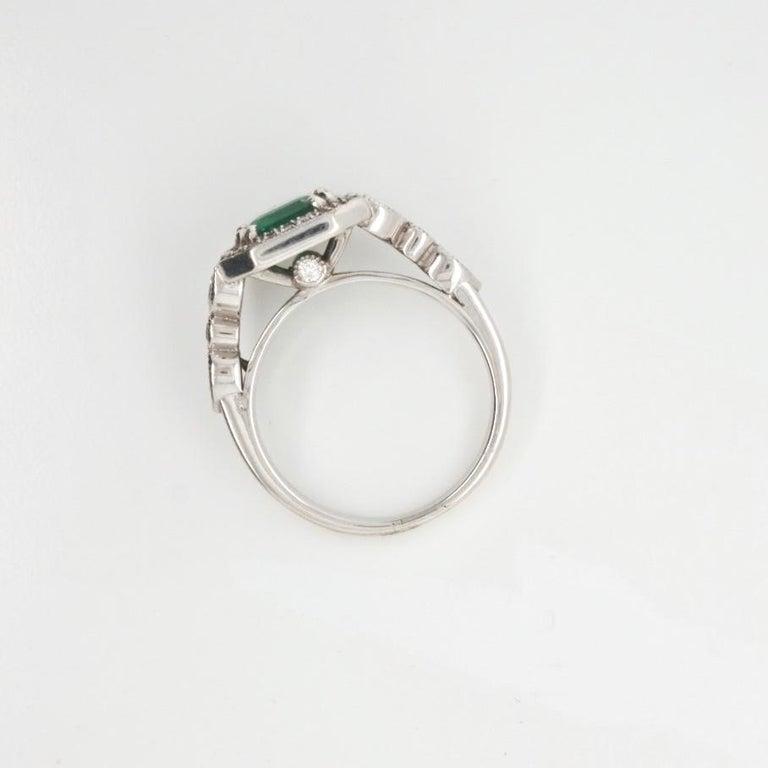 2.53 Carat Emerald & Diamond Ring in 14 Karat White Gold, Shlomit Rogel For Sale 2
