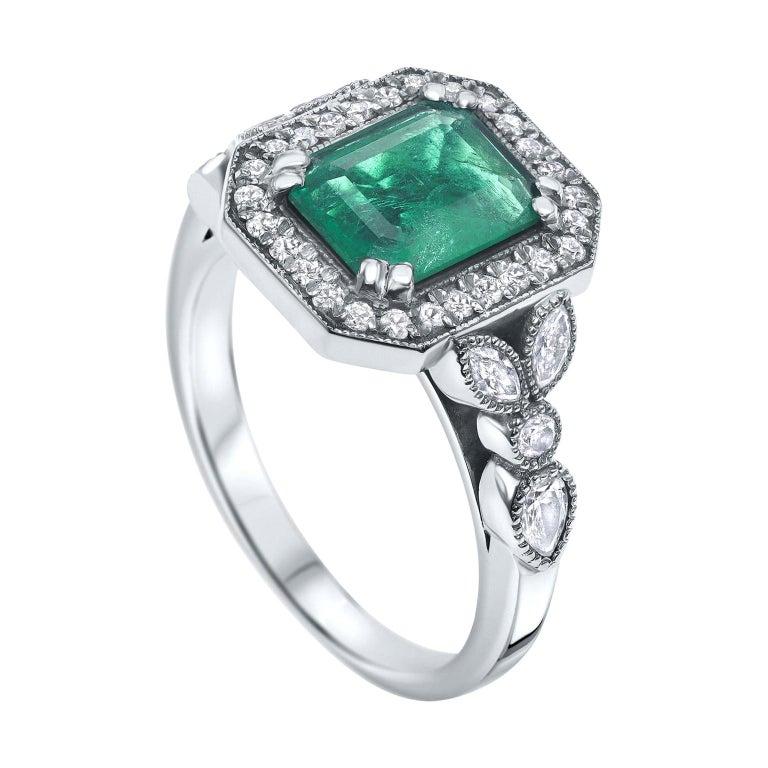 2.53 Carat Emerald & Diamond Ring in 14 Karat White Gold, Shlomit Rogel For Sale