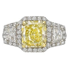 2.53 Carat Fancy Yellow Diamond Halo Ring 'VS2'