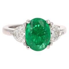 GIA Certified 2.53 Carat Emerald Diamond 18 Karat White Gold 3-Stone Ring