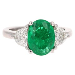 2.53 Carat GIA Certified Emerald and Diamond 18 Karat White Gold 3-Stone Ring