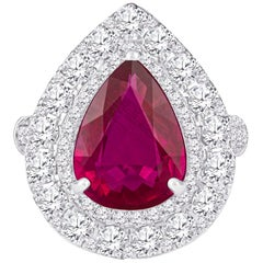 2.53 Carat Mozambique Pear Shape Natural Ruby 'GIA' and Diamond Pear Halo Ring