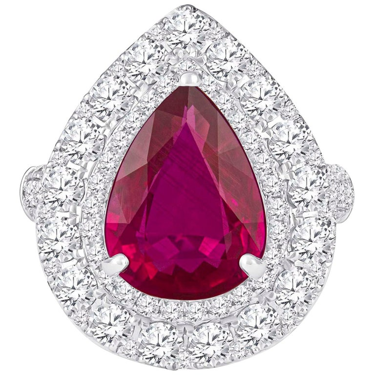 2.53 Carat Mozambique Pear Shape Natural Ruby 'GIA' and Diamond Pear Halo Ring For Sale