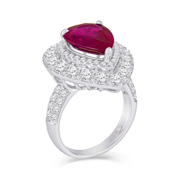 Pear Cut 2.53 Carat Mozambique Pear Shape Natural Ruby 'GIA' and Diamond Pear Halo Ring For Sale