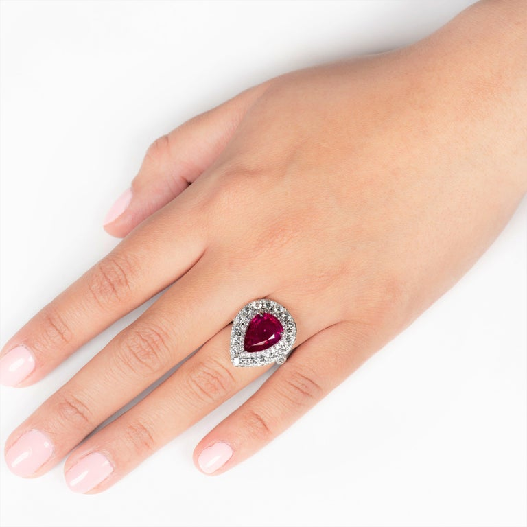 2.53 Carat Mozambique Pear Shape Natural Ruby 'GIA' and Diamond Pear Halo Ring In New Condition For Sale In Houston, TX