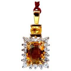 2.53 Carat Natural Orange Brown Sapphire Diamonds Drop Pendant 14 Karat