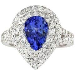 2.53 Carat Natural Tanzanite 18 Karat White Gold Diamond Ring
