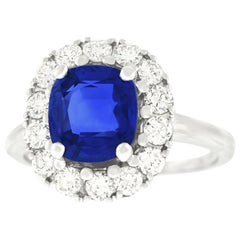 2.53 Carat No Heat Burma Sapphire and Diamond Set of Gold Ring