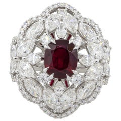 2.53 Carat Oval Ruby Center Diamond Cocktail Ring 18 Karat in Stock