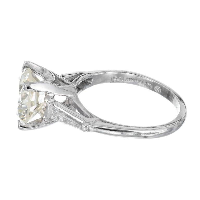 Women's 2.53 Carat Round Cut Baguette Diamond Three-Stone Platinum Engagement Ring For Sale