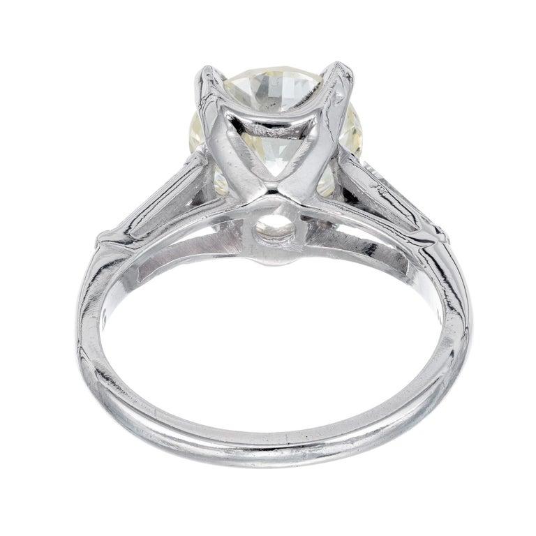2.53 Carat Round Cut Baguette Diamond Three-Stone Platinum Engagement Ring For Sale 1