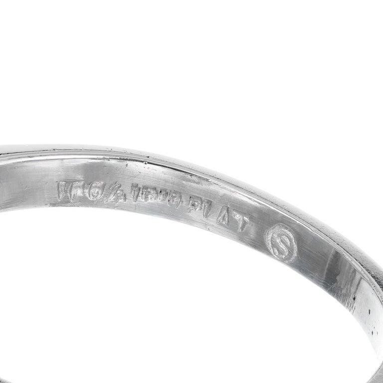 2.53 Carat Round Cut Baguette Diamond Three-Stone Platinum Engagement Ring For Sale 2