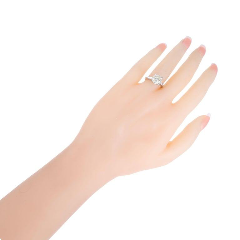 2.53 Carat Round Cut Baguette Diamond Three-Stone Platinum Engagement Ring For Sale 3