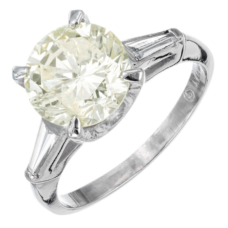 2.53 Carat Round Cut Baguette Diamond Three-Stone Platinum Engagement Ring For Sale
