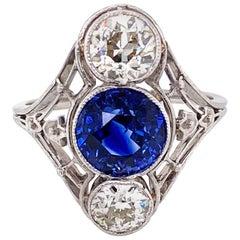 2.53 Carat Sapphire and Diamond Platinum Cocktail Ring Fine Estate Jewelry