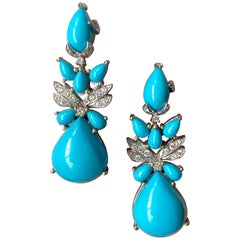 25.39 Carat Turquoise and Diamond 18 Karat White Gold Chandelier Earrings