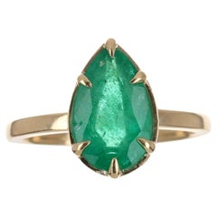 2.53cts 14K Colombian Emerald Pear Cut Solitaire Gold Ring