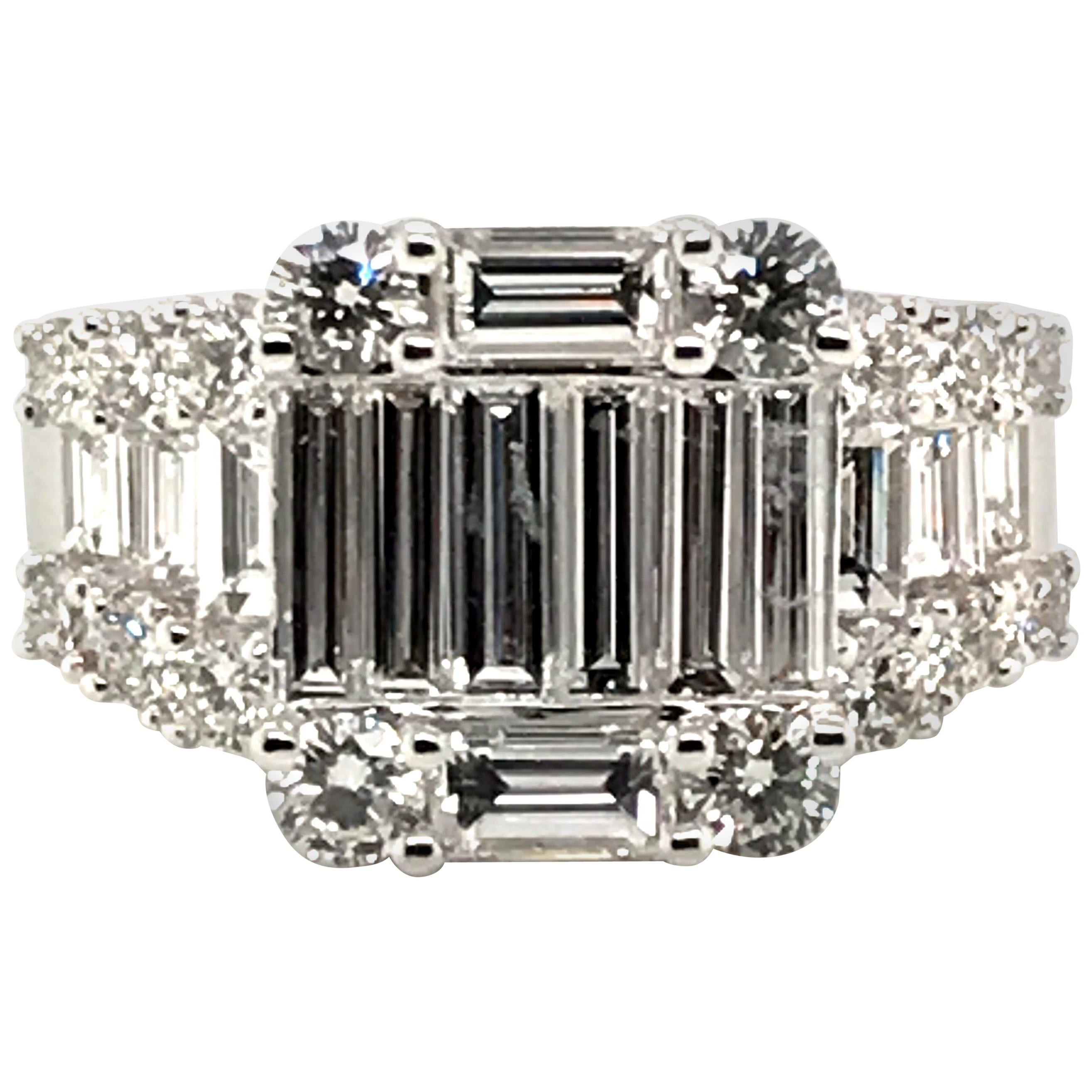 2.54 Carat Baguette and Round Diamond Ring