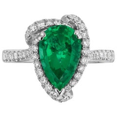 2.54 Carat Brazilian Emerald Diamond Cocktail Ring