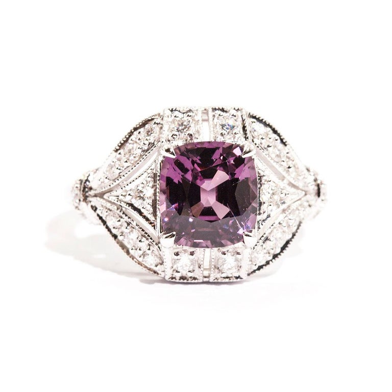 2.54 Carat Cushion Cut Spinel and Diamond 18 Carat White Gold Cluster Ring For Sale 6