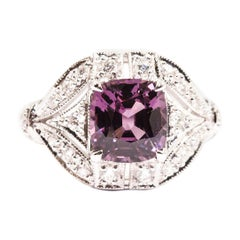 2.54 Carat Cushion Cut Spinel and Diamond 18 Carat White Gold Cluster Ring