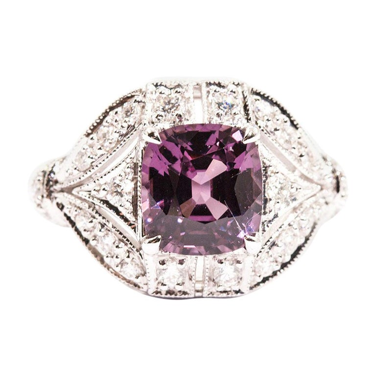 2.54 Carat Cushion Cut Spinel and Diamond 18 Carat White Gold Cluster Ring For Sale