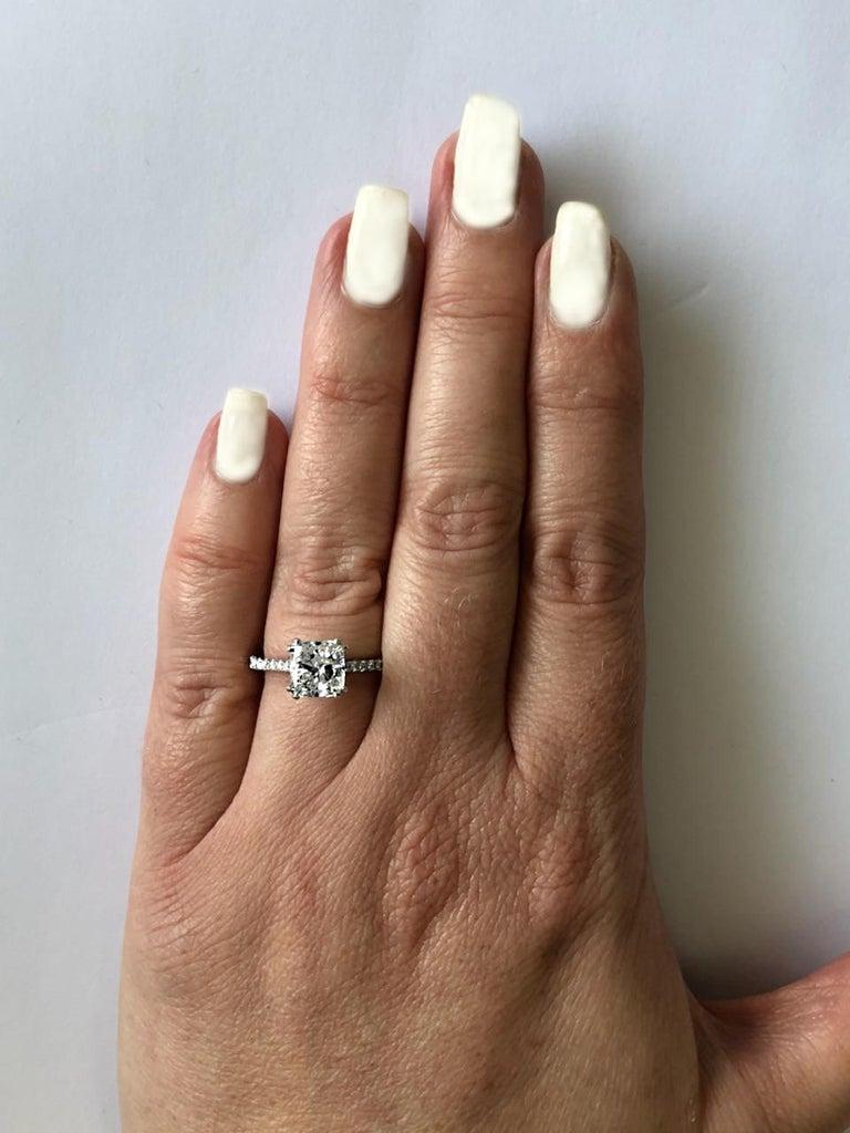 Modern Vivid Diamonds GIA Certified 2.54 Carat Cushion Cut Diamond Engagement Ring