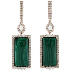 25.4 Carat Malachite Diamond 18 Karat White Gold Earrings
